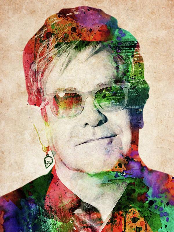 Elton John Poster featuring the digital art Elton John by Mihaela Pater