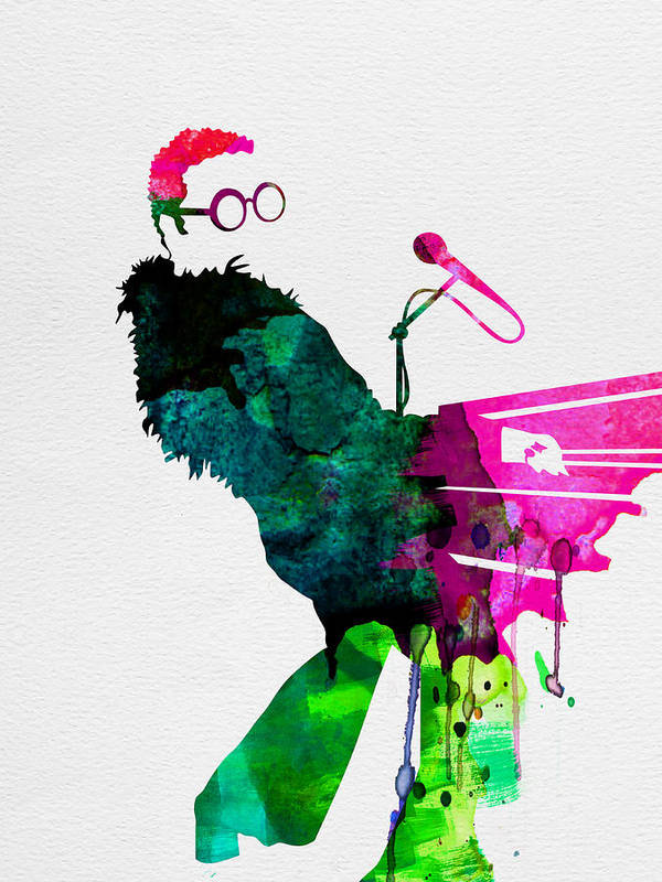 Elton Poster featuring the painting Elton Watercolor by Naxart Studio