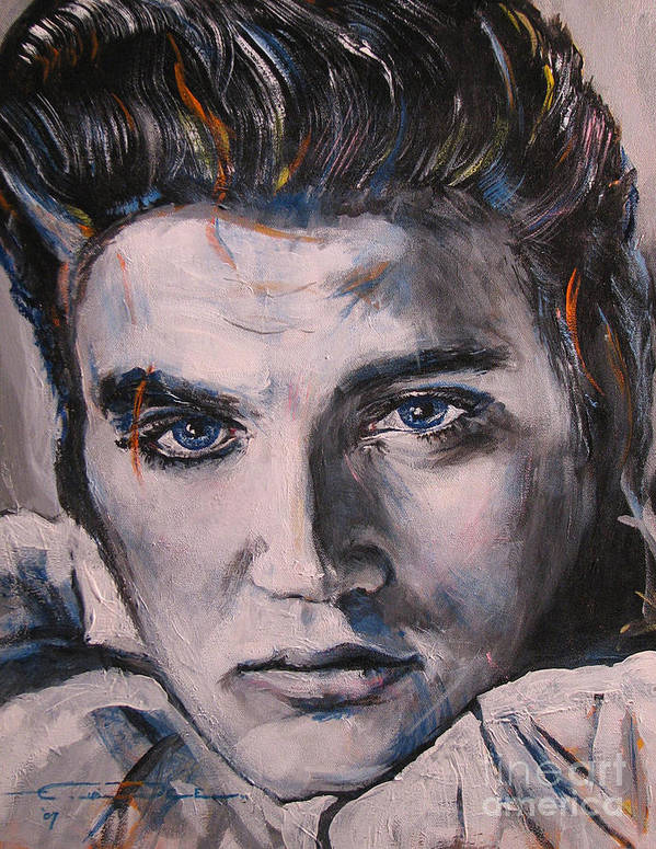 Elvis Presley Poster featuring the painting Elvis 2 by Eric Dee