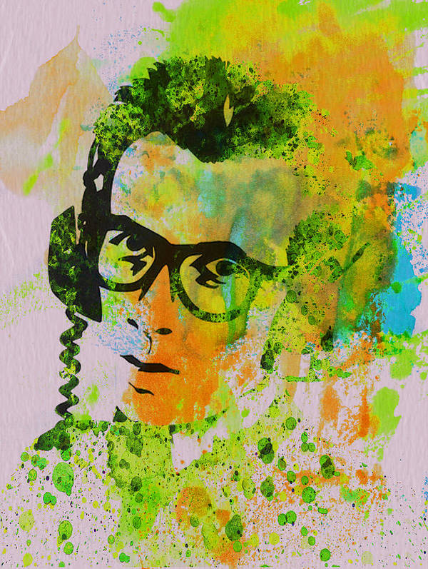 Elvis Costello Poster featuring the painting Elvis Costello by Naxart Studio