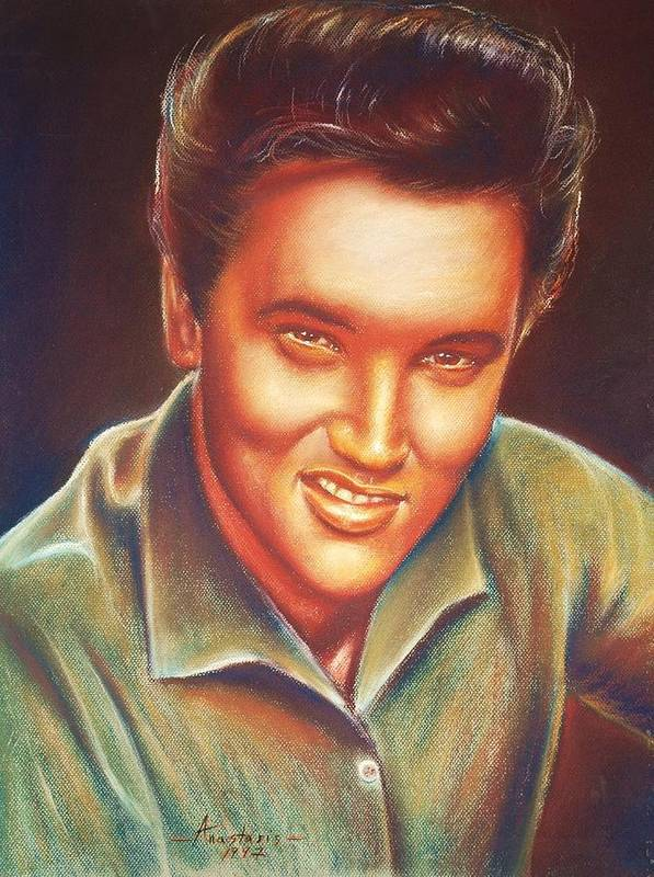 Elvis Presley Poster featuring the painting Elvis In Color by Anastasis Anastasi