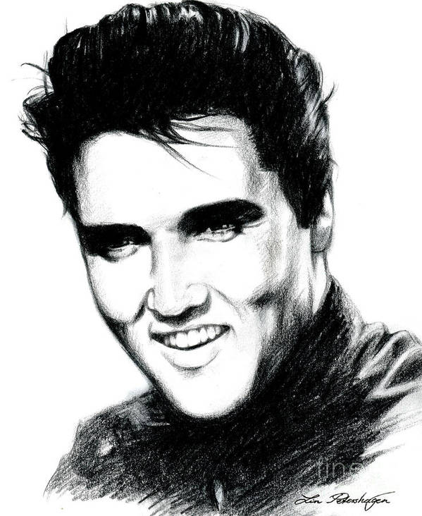 Elvis Poster featuring the drawing Elvis by Lin Petershagen