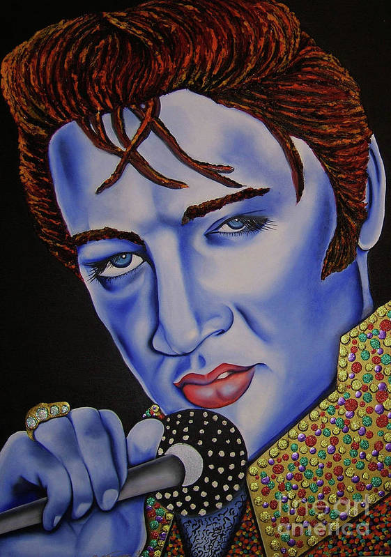 Portrait Poster featuring the painting Elvis by Nannette Harris