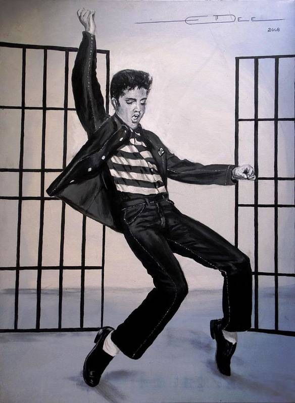 Elvis Presley Poster featuring the painting Elvis Presley Jailhouse Rock by Eric Dee