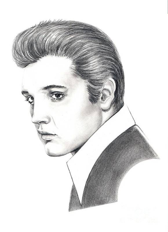 Pencil. Portrait Poster featuring the drawing Elvis Presley by Murphy Elliott