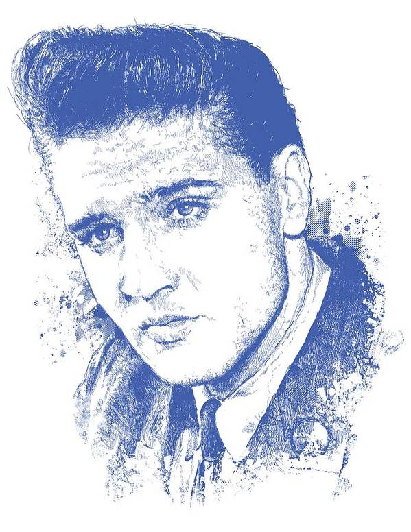 Chadlonius Poster featuring the digital art Elvis Presley Portrait by Chad Lonius