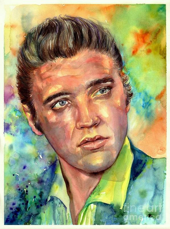 Elvis Poster featuring the painting Elvis Presley watercolor by Suzann Sines
