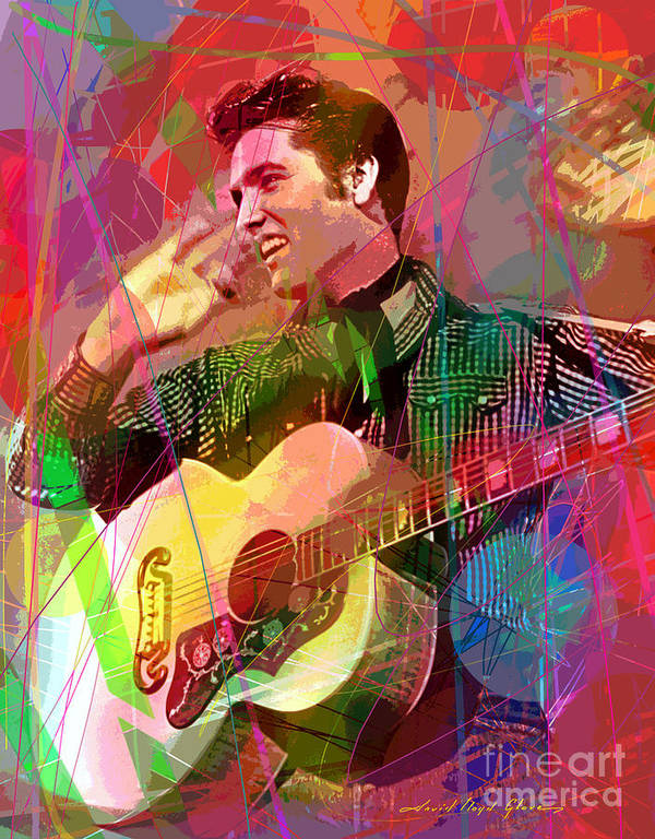 Elvis Poster featuring the painting Elvis Rockabilly by David Lloyd Glover