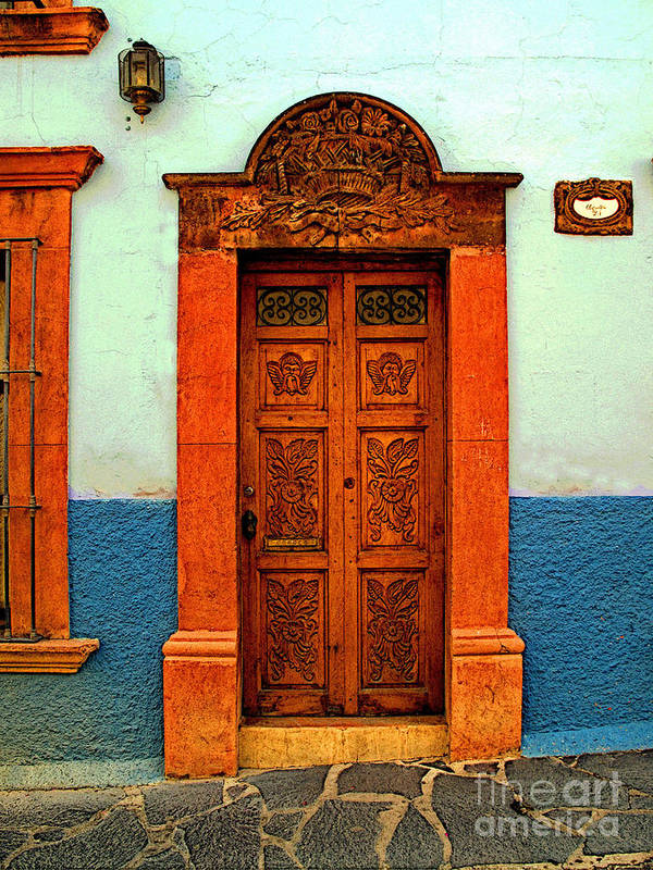 Olden Mexico Poster featuring the photograph Embellished Puerta by Mexicolors Art Photography