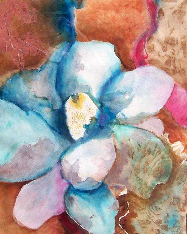 Floral Poster featuring the painting Emerging Flower by Sandy Hemmer