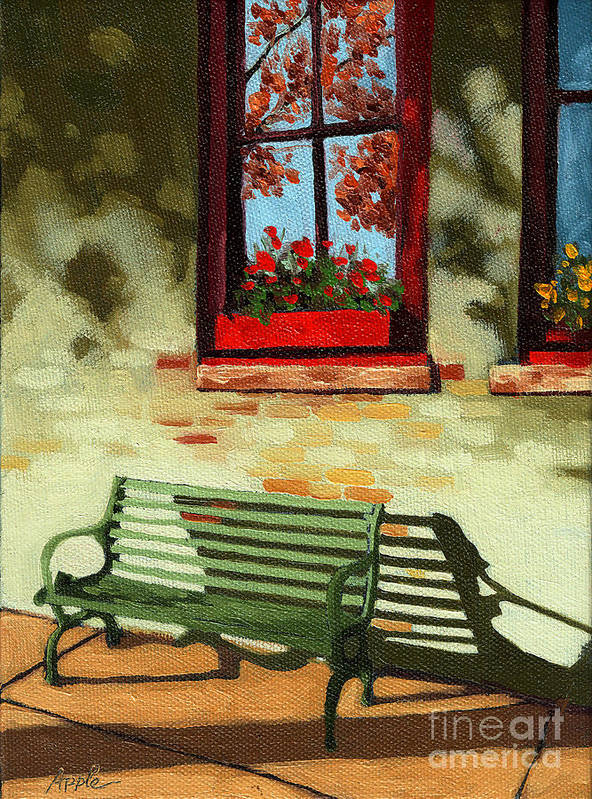 City Bench Poster featuring the painting Empty Bench by Linda Apple