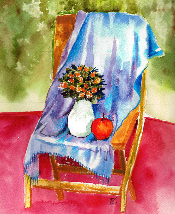 Chair Poster featuring the painting Empty Chair by Zara GDezfuli