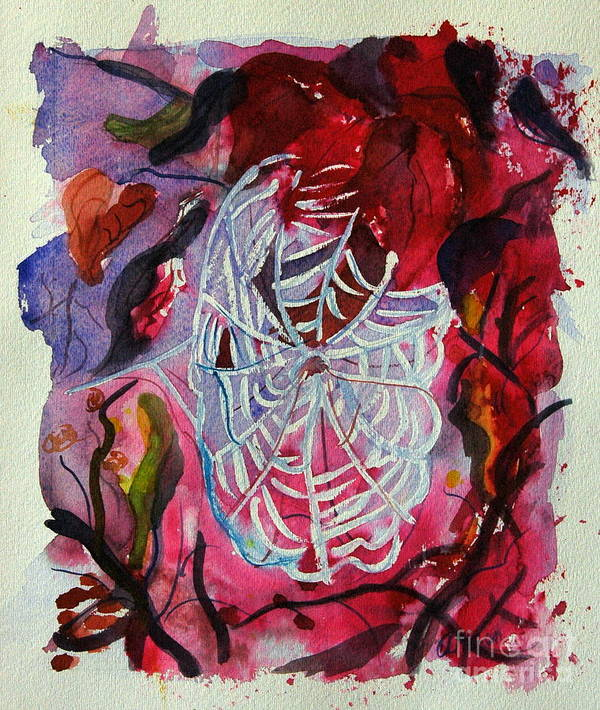 Abstract Poster featuring the painting Empty Nest by Stephanie Allison