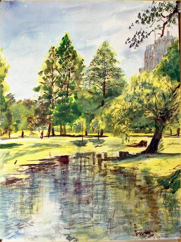 Watercolor Poster featuring the painting En El Parque A Mediodia by Horacio Prada