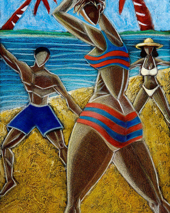 Beach Poster featuring the painting En Luquillo Se Goza by Oscar Ortiz