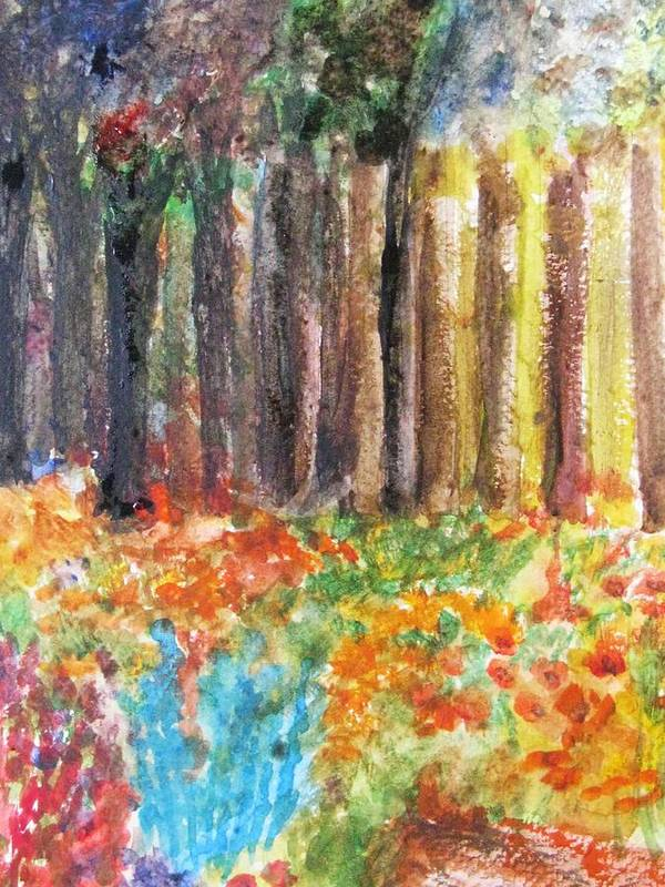 Woods Poster featuring the painting Enchanted Woods by Trilby Cole