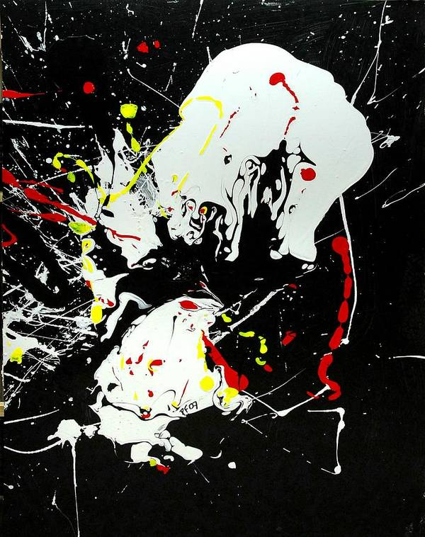 Abstract Poster featuring the painting Encounter 2 by Paul Freidin