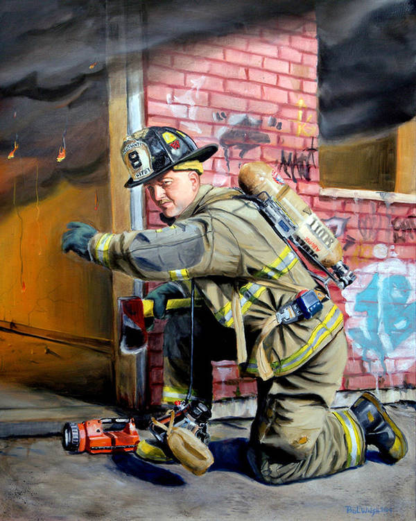 Firefighting Poster featuring the painting Engine 8's Job by Paul Walsh