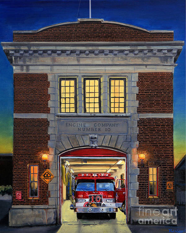 Firehouse Poster featuring the painting Engine Company 10 by Paul Walsh