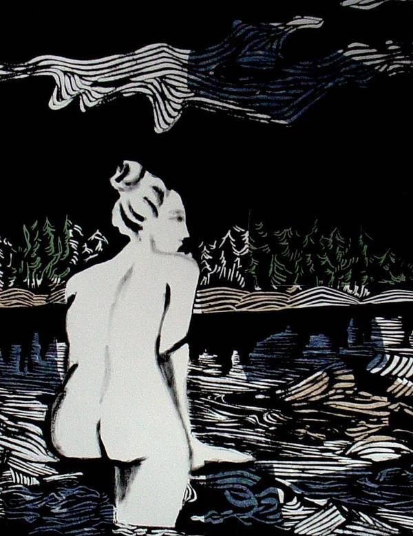 Lino Print Poster featuring the mixed media Enjoying The View by Patricia Bigelow