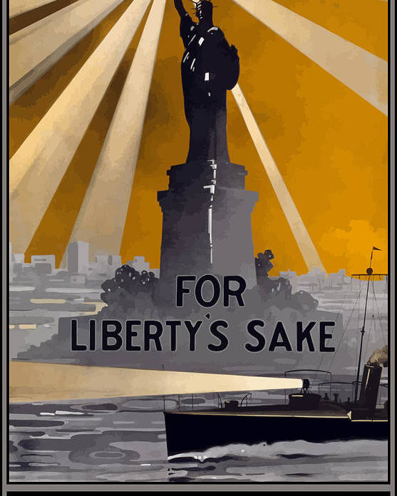 Statue Of Liberty Poster featuring the painting Enlist In The Navy - For Liberty's Sake by War Is Hell Store
