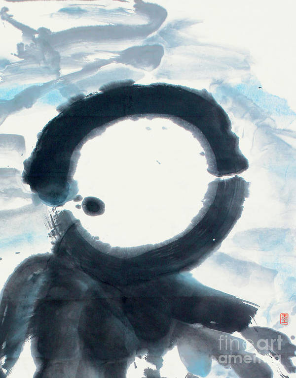 Poster featuring the painting Quietude - Enso Moon Rising Above The Mountain by Nadja Van Ghelue