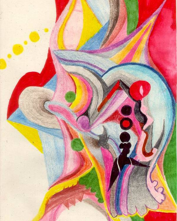 Abstract Poster featuring the drawing Enthusiasm For Experimentation by Peter Shor