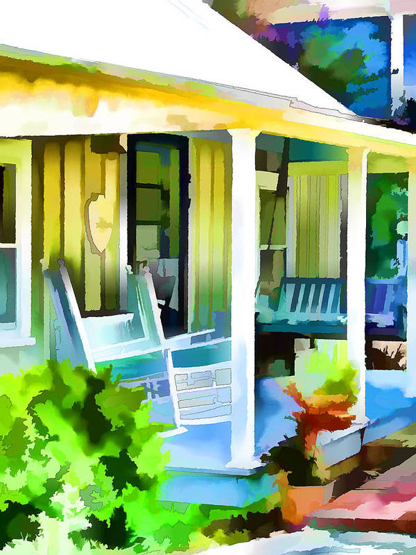 Front Porch Poster featuring the painting Entrance Of A House 1 by Jeelan Clark