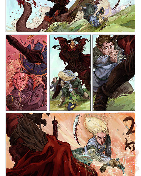 Lord Of The Rings Poster featuring the digital art Eowyn Vs. Nazgul Pg 2 Colored by Storn Cook