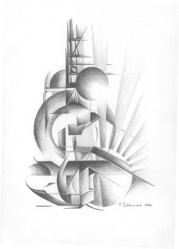 Abstract Poster featuring the drawing Equilibre by Muriel Dolemieux