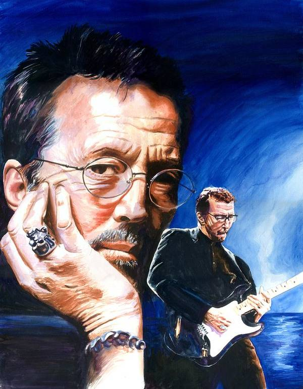 Musicians Poster featuring the painting Eric Clapton Blues Lake by Ken Meyer