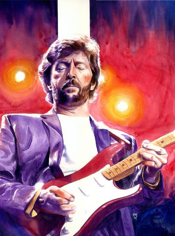 Musicians Poster featuring the painting Eric Clapton Stripe by Ken Meyer