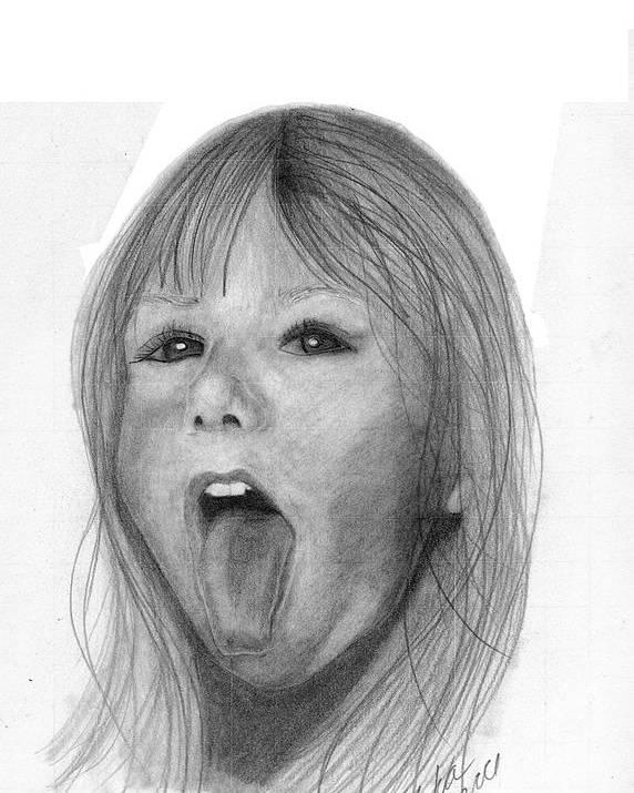 Portrait Poster featuring the drawing Erika Jane by Tara Kearce