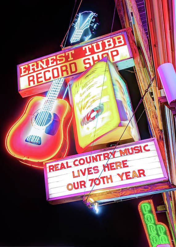 Usa Poster featuring the photograph Ernest Tubb Record Shop Neon - Nashville Tennessee by Gregory Ballos