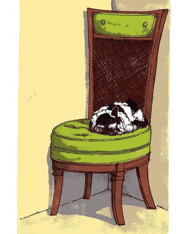 Cat Poster featuring the drawing Ernie And Green Chair by Tobey Anderson