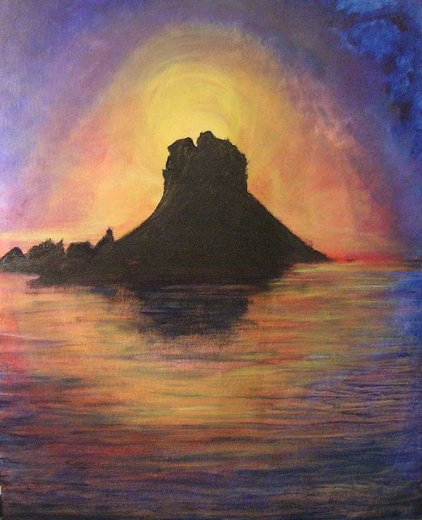 Sunset Poster featuring the painting Es Vedra Sunset I by Lizzy Forrester