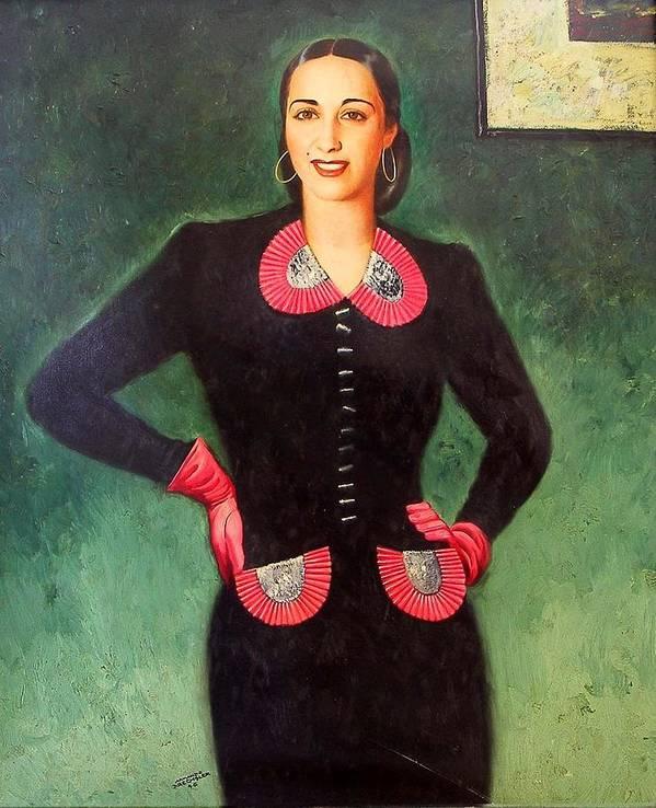 Dreschler Poster featuring the painting Estela Mora De Albarran by Armando Dreschler