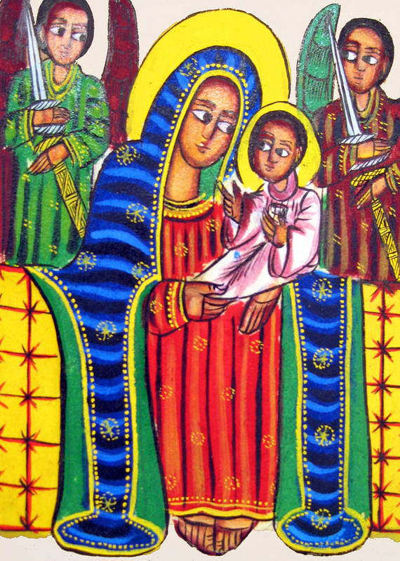 Ethiopian Mary And Jesus Poster featuring the photograph Ethiopian Mary And Jesus by Munir Alawi
