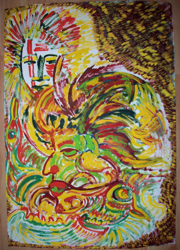 Ethnic Poster featuring the painting Ethnic by Helene Champaloux-Saraswati