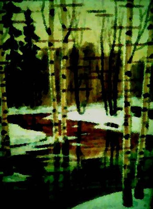 Sprig.forest.snow.water.trees.birches. Puddles.sky.reflection. Poster featuring the digital art European Spring by Dr Loifer Vladimir