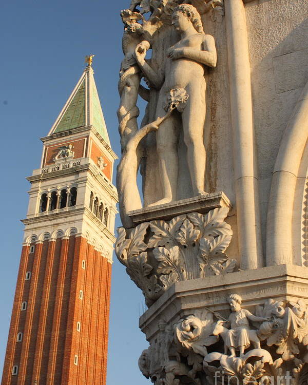 Venice Poster featuring the photograph Eve And Bell Tower In Venice At San Marco by Michael Henderson