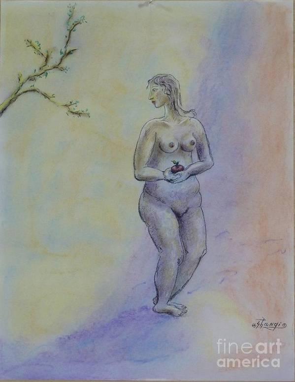 Woman Poster featuring the pastel Eve by Ushangi Kumelashvili