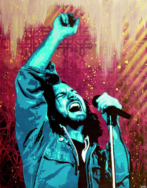 Eddie Vedder Poster featuring the painting Even Flow by Bobby Zeik