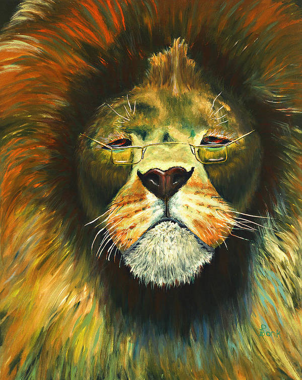 Lion Poster featuring the painting Even Lions Get Old by Peter Bonk