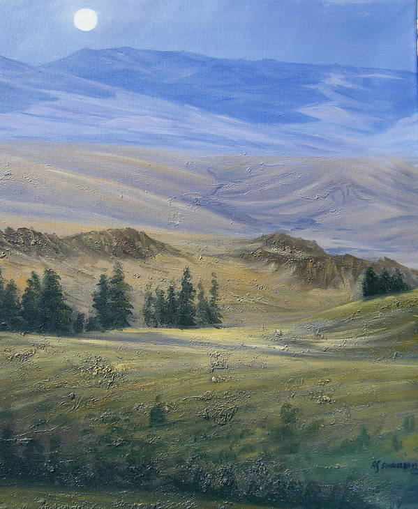 Landscape Poster featuring the painting Evening Near Kamloops by Imagine Art Works Studio