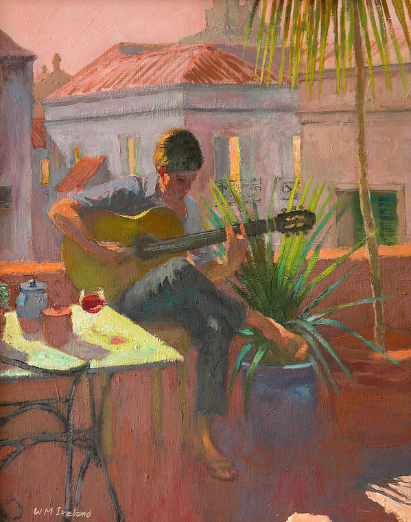 Playing; Acoustic; Guitar; Legs; Crossed; Table; Balcony; Terrace; Summer; Holiday; Vacation; Roof; Music; Playing Guitar; Table; Glass; Pot; Pots; Plant; Plants; Rooftop; Rooftops; Evening; Window; Windows Poster featuring the painting Evening Rooftop by William Ireland