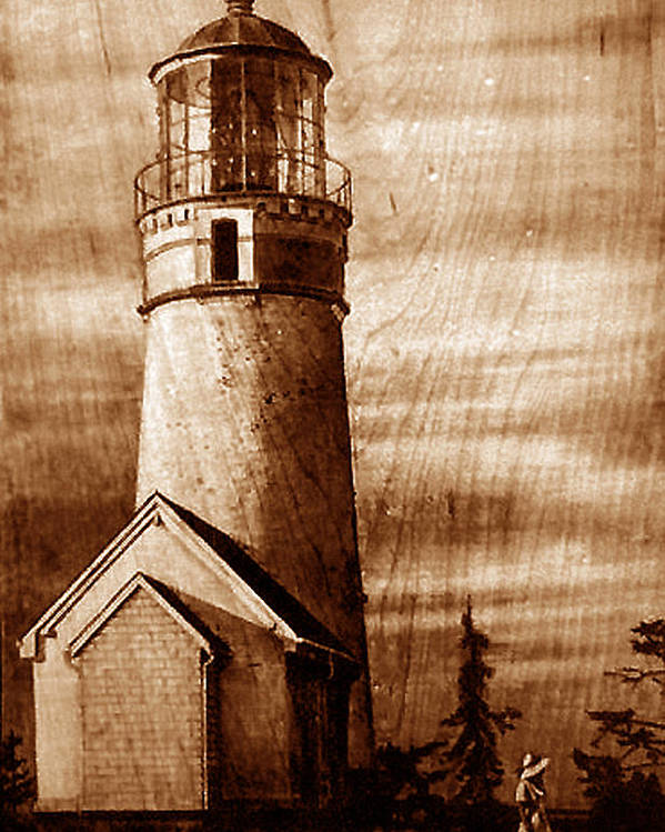 Dino Muradian Poster featuring the pyrography Evening Walk At Cape Blanco by Dino Muradian