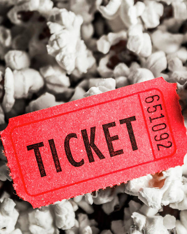 Popcorn Poster featuring the photograph Event Ticket Lying On Pile Of Popcorn by Jorgo Photography - Wall Art Gallery