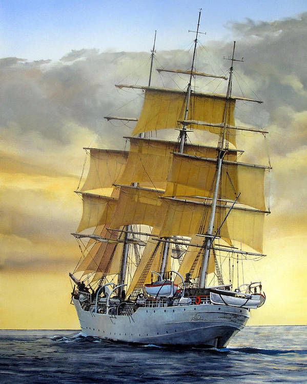 Sailing Ship Poster featuring the painting Eventide by Tim Johnson