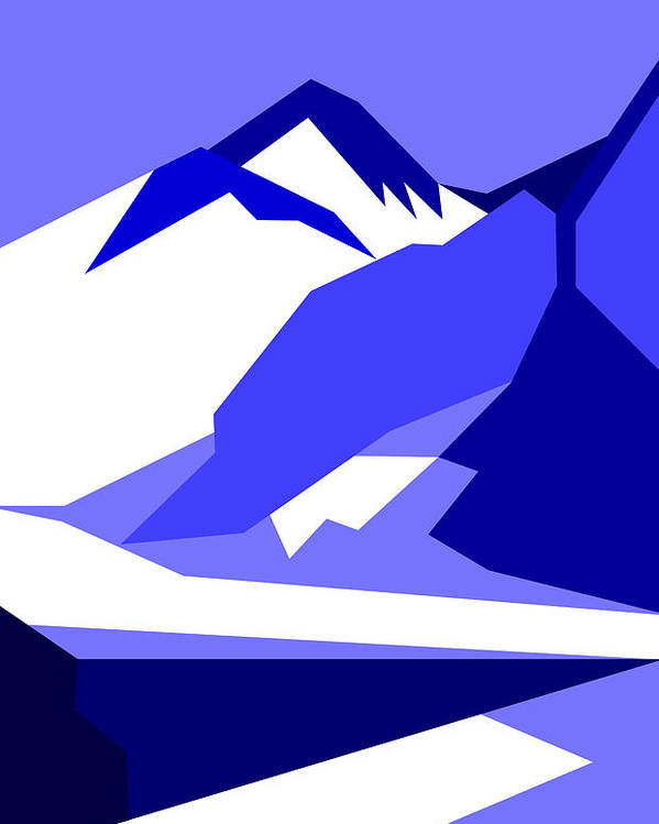 Everest Poster featuring the digital art Everest Blue by Asbjorn Lonvig